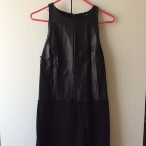 DKNY Faux Leather Panel Dress